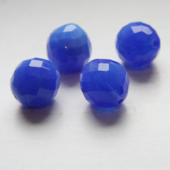 Czech Fire Polish Faceted Round - Blue Opal Natural