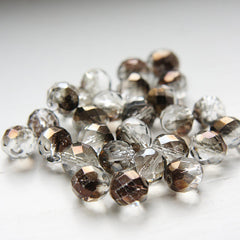 Czech Fire Polish Faceted Round - Crystal Bronze Half Coat