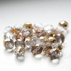 Czech Fire Polish Faceted Round - Crystal Sprayed Gold