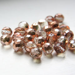 Czech Fire Polish Faceted Round - Cyrstal Vitrail Half Coat