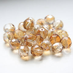 Czech Fire Polish Faceted Round - Crystal Celsian