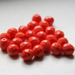 Czech Fire Polish Faceted Round - Opaque Orange