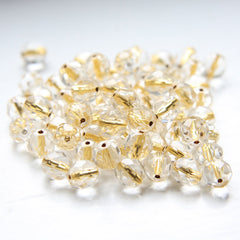 Czech Fire Polish Faceted Round - Crystal Gold Lined
