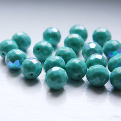 Czech Fire Polish Faceted Round - Opaque Turquoise AB