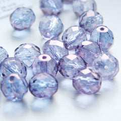 Czech Fire Polish Faceted Round - Cyrstal Purple Coated