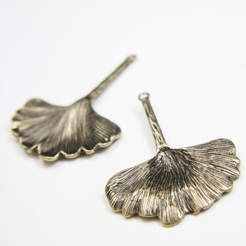 Base Metal Charms-Ginkgo 58x43mm (296C)