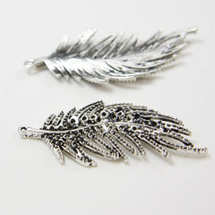 Base Metal Charms-Feather 55x26mm (20041X)