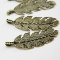 Base Metal Charms-Feather 62x22mm (20278X)