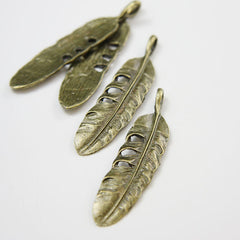 Base Metal Charms-Feather 57x13mm (20279X)