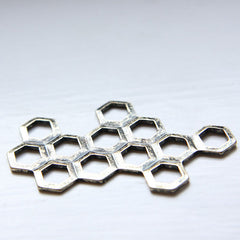 Base Metal Charm - Link - Honeycomb 59x44mm (152C)