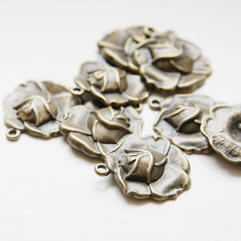 Base Metal Charms-Rose 22x23mm