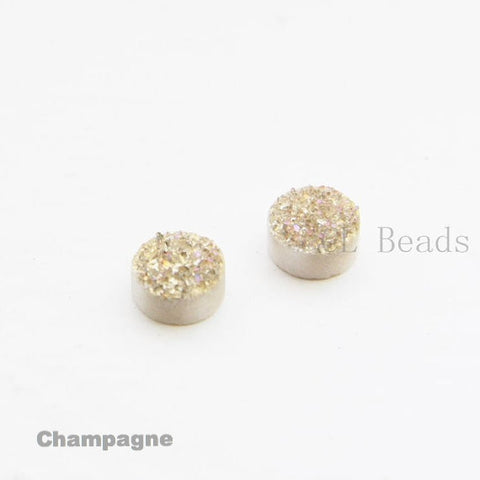 AAA Coated Drusy Quartz Cabochons - Round 8mm