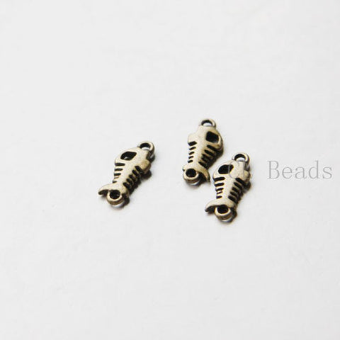Base Metal Charms-Fish Bone 15x7mm (133Y)