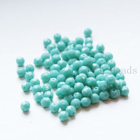 Czech Fire Polish Glass Faceted Round-Light Turquoise