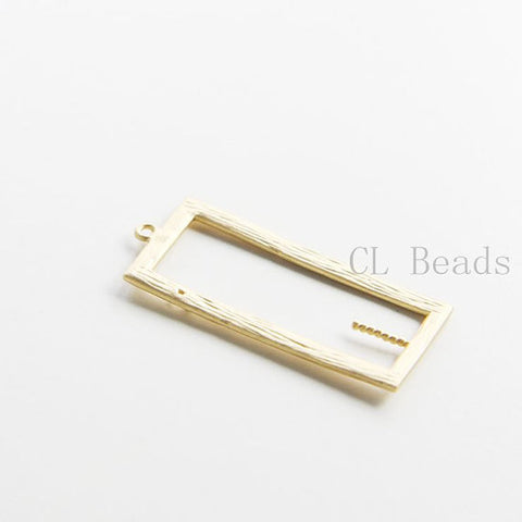 Brass Base Charms-Rectangle 34x15mm (7116C)