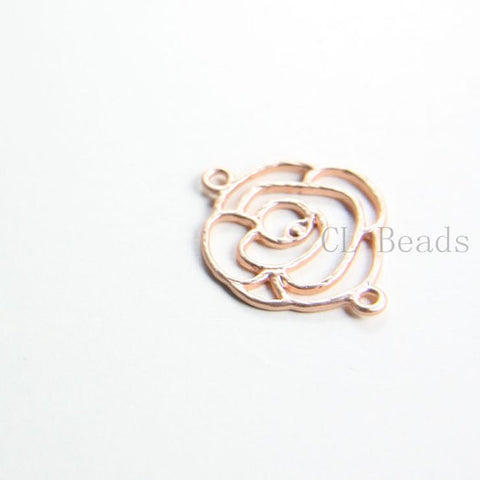 Brass Base Charm - Link - Rose 25x20mm (430C)