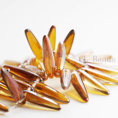 Czech Glass Thorn - Spikes - Crystal Venus Transparent Half coated 5x16mm (96324)