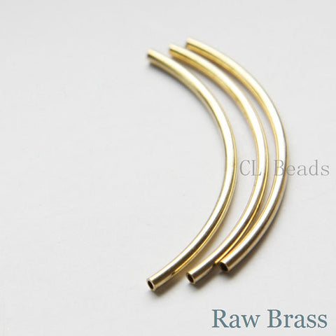 Brass Base Curved Tube 2x50mm with ID 1.4mm (1686C)