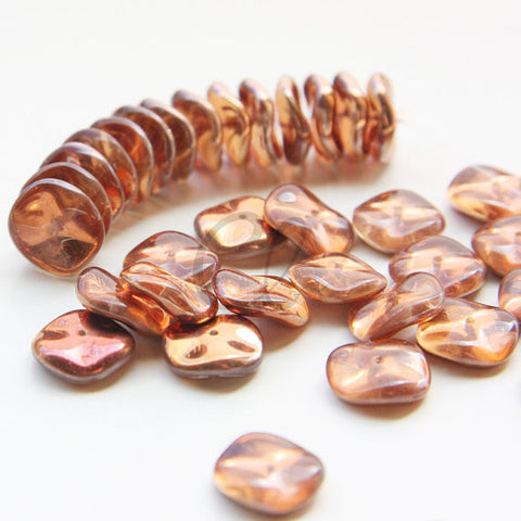 12pcs Czech Preciosa Ripple Beads - Waved Disk - Crystal/Sunset Tr. Half Coated 12mm (06S5)