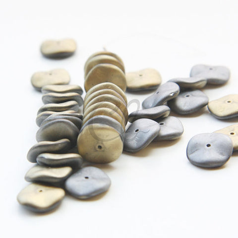 12pcs Czech Preciosa Ripple Beads - Waved Disk - California Graphite Matt 12mm (35S5)