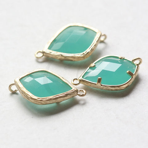 Matte Tone Framed Glass Link- Green Turquoise 23x14mm (9150Z)