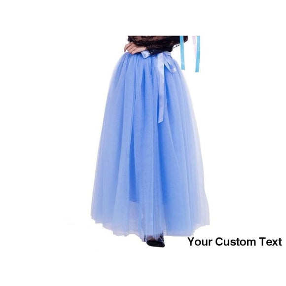 Cornflower Blue 7 Layers Long Tulle Skirt Floor-Length Pleated Wedding Bridal Boho
