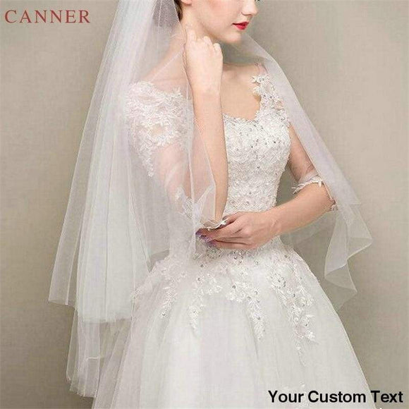 85cm*150cm/3 feet*5 feet Simple Two Layer Wedding Veils