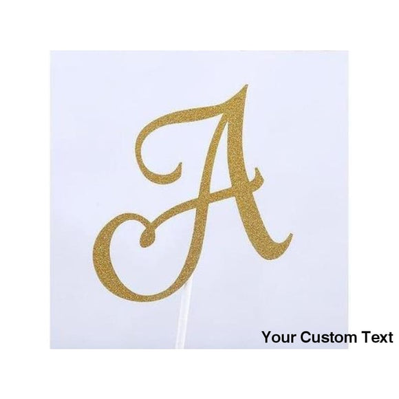 Dark Khaki A B C Custom Letter Cake Topper Bridal Shower Glitter Shiny Paper Bachelorette Birthday Party Personalized