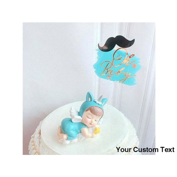 Lavender Acrylic Blue Pink Oh Baby Happy Birthday Cake Topper for Baby Shower