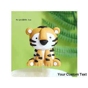 Sandy Brown Animals tiger Lion Fox Owl Deer Kids Happy Birthday Cake Topper Trees Mushroom