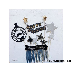 "Black Black Gold Star Mustache Hat Tassel ""Happy Birthday"" Collection Cake Topper Dessert Decoration for Birthday Party Gifts"