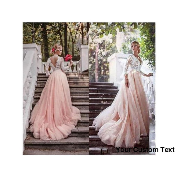 Rosy Brown Blush Pink Country Wedding Gown with Sleeves Deep V Neck Illusion Top Lace Tulle Bridal Gown Formal Party Dress Other Sizes and Colors please ask