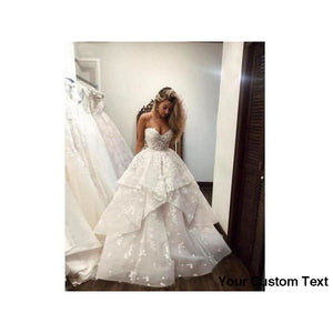 Gray Elegant Sweetheart White Lace Appliques Pearl Beaded Tulle Wedding Dress Strapless Bridal Gown