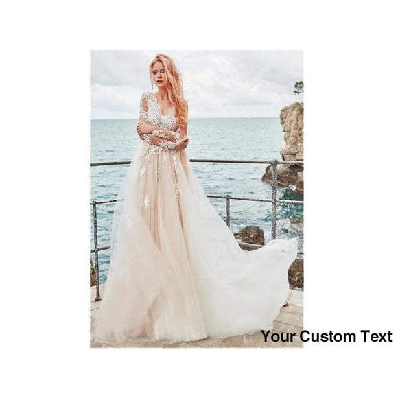 Light Gray Exquisite Tulle V-neck A-line Bridal Gown Wedding Dress With Lace Appliques Elegant Long Sleeves