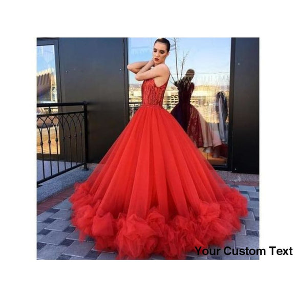 Firebrick Eye-Catching Red Ball Gown Party Wedding Dress Long Sleeveless Ruffles Bottom Chic Bridal Evening Party Gown Pageant Wear
