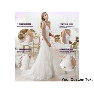 Gray Fast Shipping White Fish tail Wedding Bridal Dress Lacy