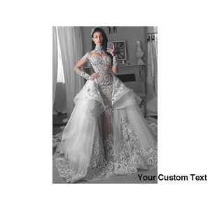 Dark Gray Glamorous Long Sleeved Dress Tulle High Neck Wedding Gown Appliques Bridal Gowns with Detachable Train vestido casamento