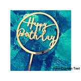 "Dark Cyan Gold Letters ""Happy Birthday"" Acrylic Cake Topper Circle Red Transparent For Birthday Party Cake Decoration"