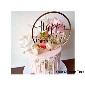 "Rosy Brown Gold Letters ""Happy Birthday"" Acrylic Cake Topper Circle Red Transparent For Birthday Party Cake Decoration"