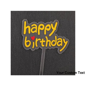 Gold Happy Birthday Acrylic Cake Topper