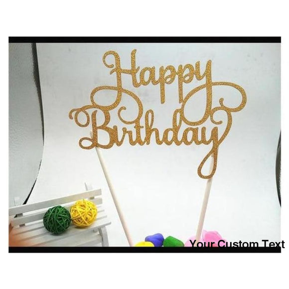Tan Happy Birthday Cake Topper Acrylic Letter Gold Silver