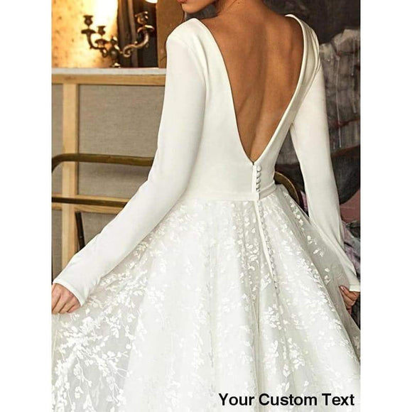 Lace Wedding Dress Long Sleeve V-neck Boho Bridal Gowns