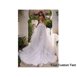 Gray Long Boho A Line Backless Wedding Dress 3D Flowers Spaghetti Strap Bride Dress Floor Length Wedding Gown