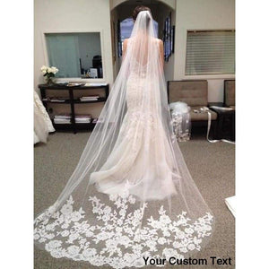 Long Bridal Veil Appliques Veu De Noiva Wedding