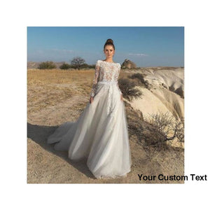 Dim Gray Long Sleeve Wedding Dress Sheer Boat Neck A Line Appliques Tulle Bridal Gown Many Colors and Sizes please ask