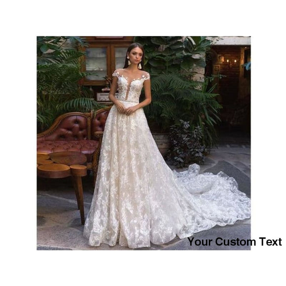 Gray Modest Full Lace Wedding Dress Cap Sleeve Backless Bridal Gown Custom Made Party Dress Many Sizes and Colors please ask