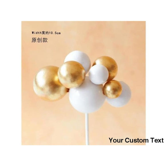 Snow Multicolor Ball Flower Birthday Cake Topper
