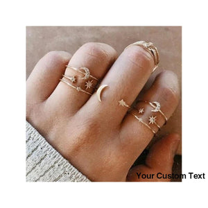 Gray New Gold Silver Color Round Hollow Geometric Rings Set For Women Fashion Cross Twist Crystal Joint Ring Feminine Jewelry