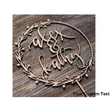 Dim Gray Personalized Rustic Cake Topper, Bride and Groom Custom Cake Topper