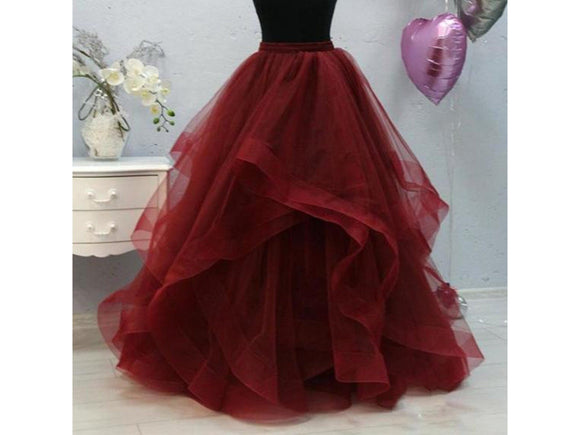 Dark Red Formal Ruffles Puffy Long Wedding Tulle Skirt For Bridal Wine Red Tulle Skirt